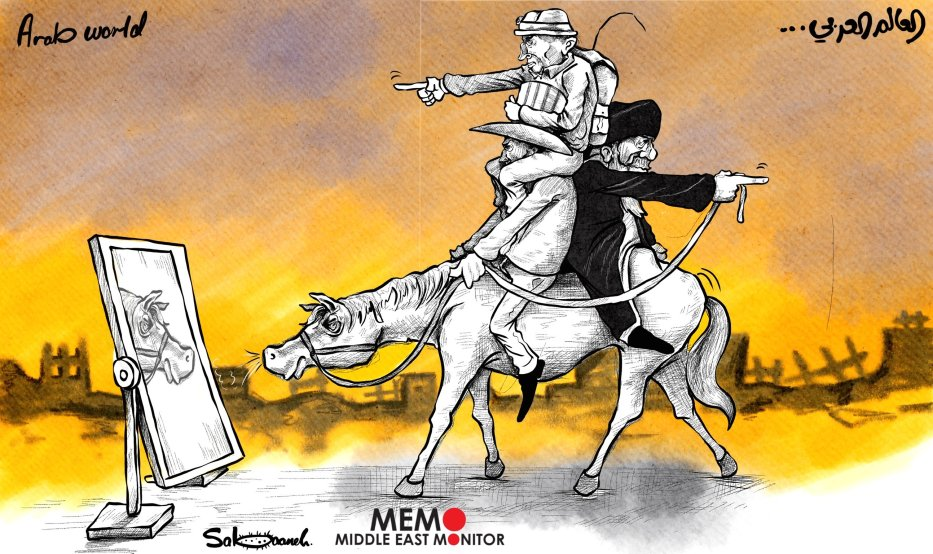 The Arab World under the influence of Iran and US/Israel - Cartoon [Sabaaneh/MiddleEastMonitor]