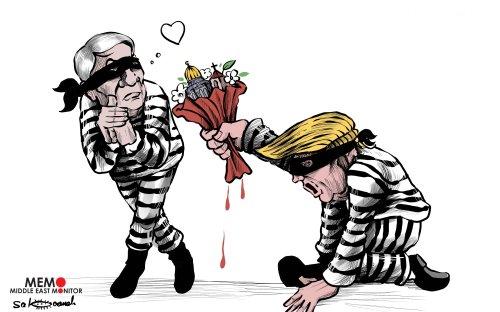 Trump and Netanyahu's love affair around Jerusalem and Palestine's fate - Cartoon [Sabaaneh/MiddleEastMonitor]
