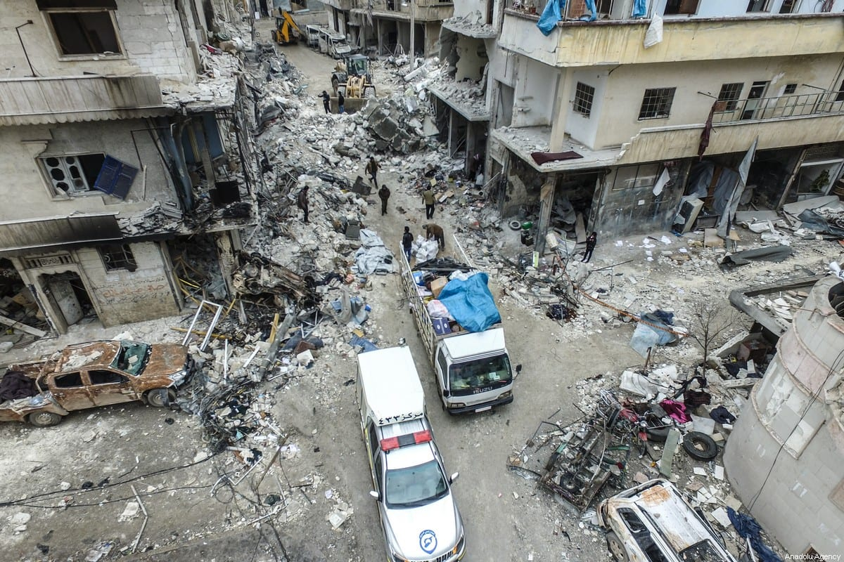 A drone photo shows collapsed and damaged buildings after warplanes hit residential areas in Idlib, Syria on January 30 2020 [İzzeddin İdilbi/Anadolu Agency]