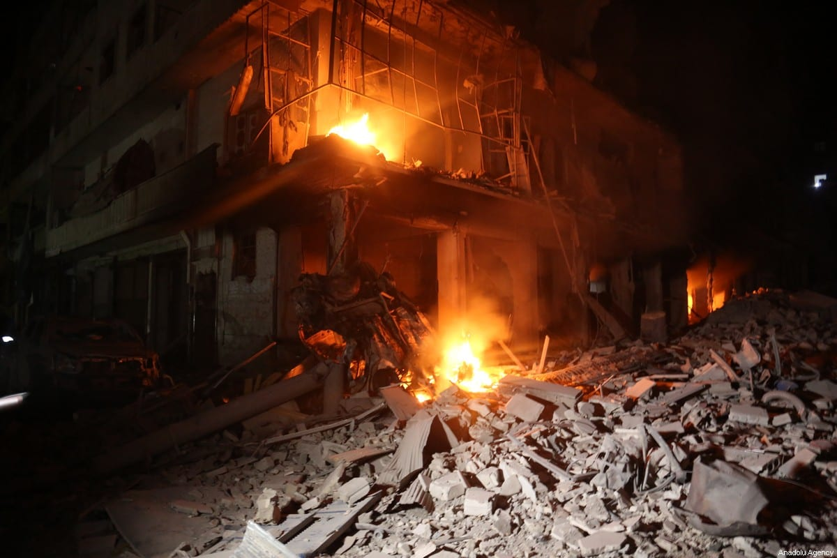Heavly damaged buildings are seen after Russian warplanes hit residential areas including a hospital and a bakery, in Ariha district, south of Idlib, Syria on 30 January 2020. [İzzeddin İdilbi - Anadolu Agency]
