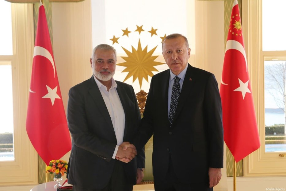 Turkish President Recep Tayyip Erdogan (R) shakes hands with Hamas political chief Ismail Haniyeh (L) as they pose for a photo during their meeting at Vahdettin Pavilion in Istanbul, Turkey on February 1, 2020. [Murat Kula / Anadolu Agency]