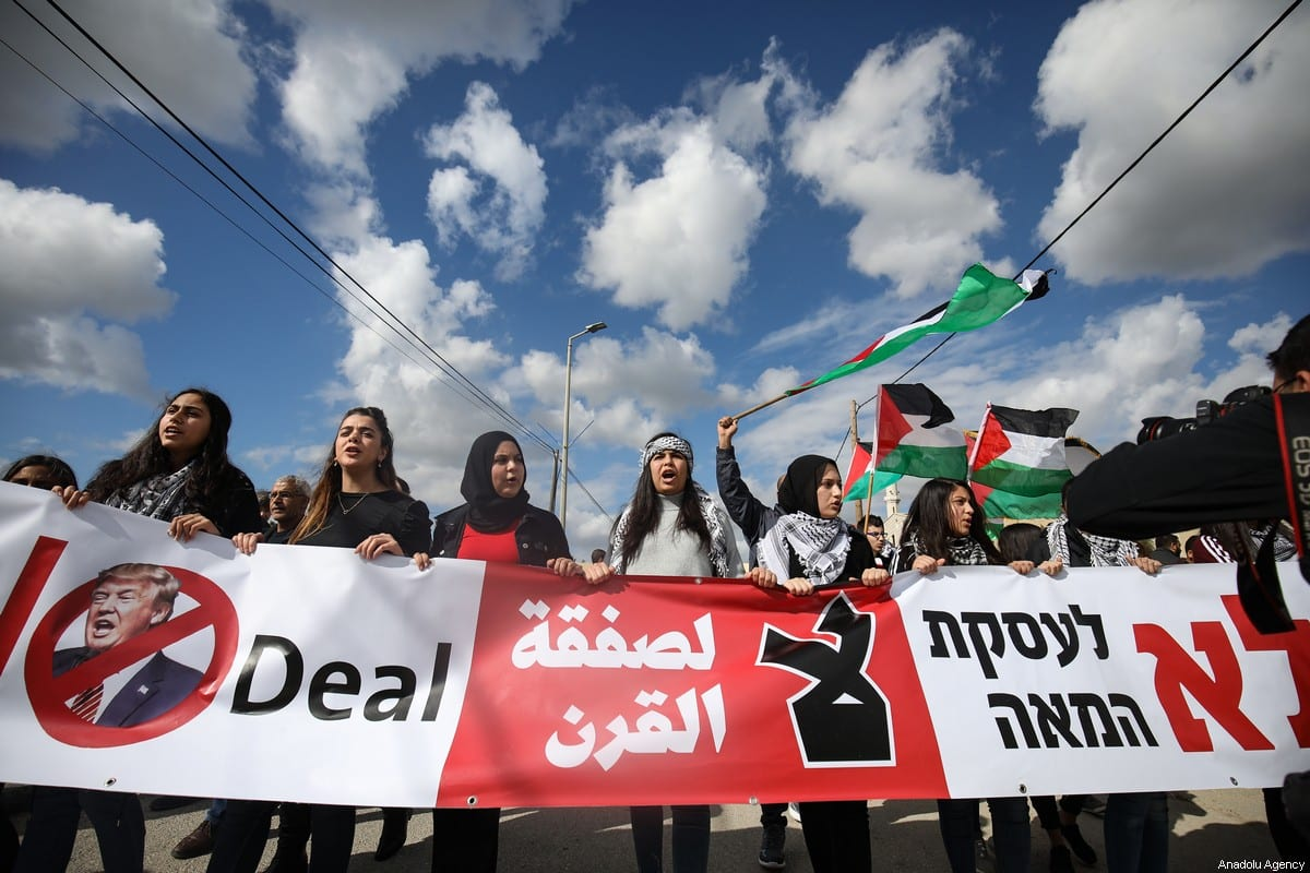 Palestinians protest against US President Donald Trump's so-called Middle East peace plan on 1 February 2020 [Mostafa Alkharouf/Anadolu Agency]