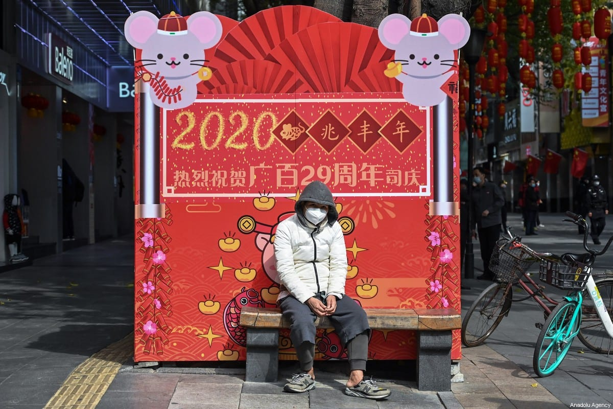 A person seen wearing a face mask, as protection against the coronavirus, on February 1, 2020 in Guangzhou, China [Stringer / Anadolu Agency]