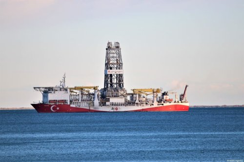 Turkey's drilling ship Fatih is anchored off the Tasucu Port in Silifke district of Mersin, Turkey on 1 February 2020. [Mustafa Ünal Uysal - Anadolu Agency]