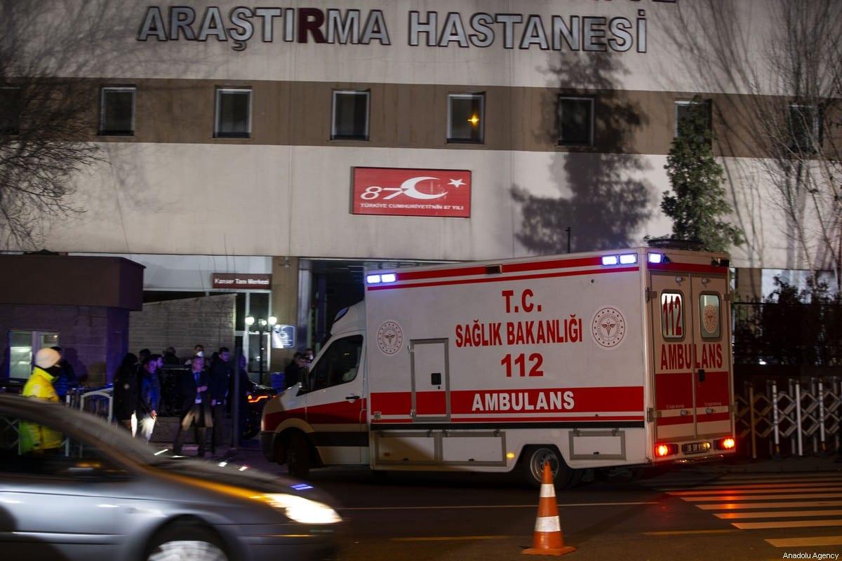 An ambulance arrives at Zekai Tahir Burak Hospitalin Ankara, Turkey on February 1, 2020 [Binnur Ege Gürün Koçak/Anadolu Agency]