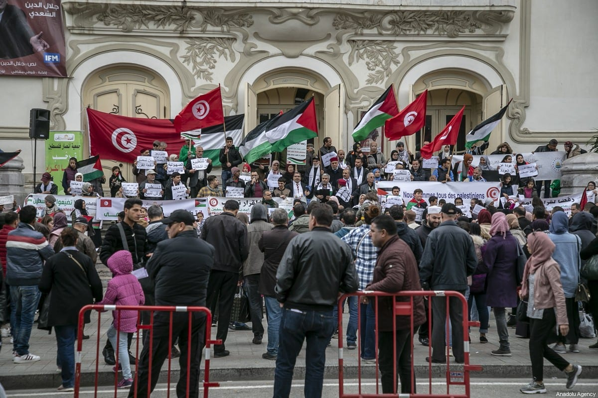 Protesters stage a protest in front of Municipality Theatre in Tunis, Tunisia on February 1, 2020. [Yassıne Gaıdı - Anadolu Agency]