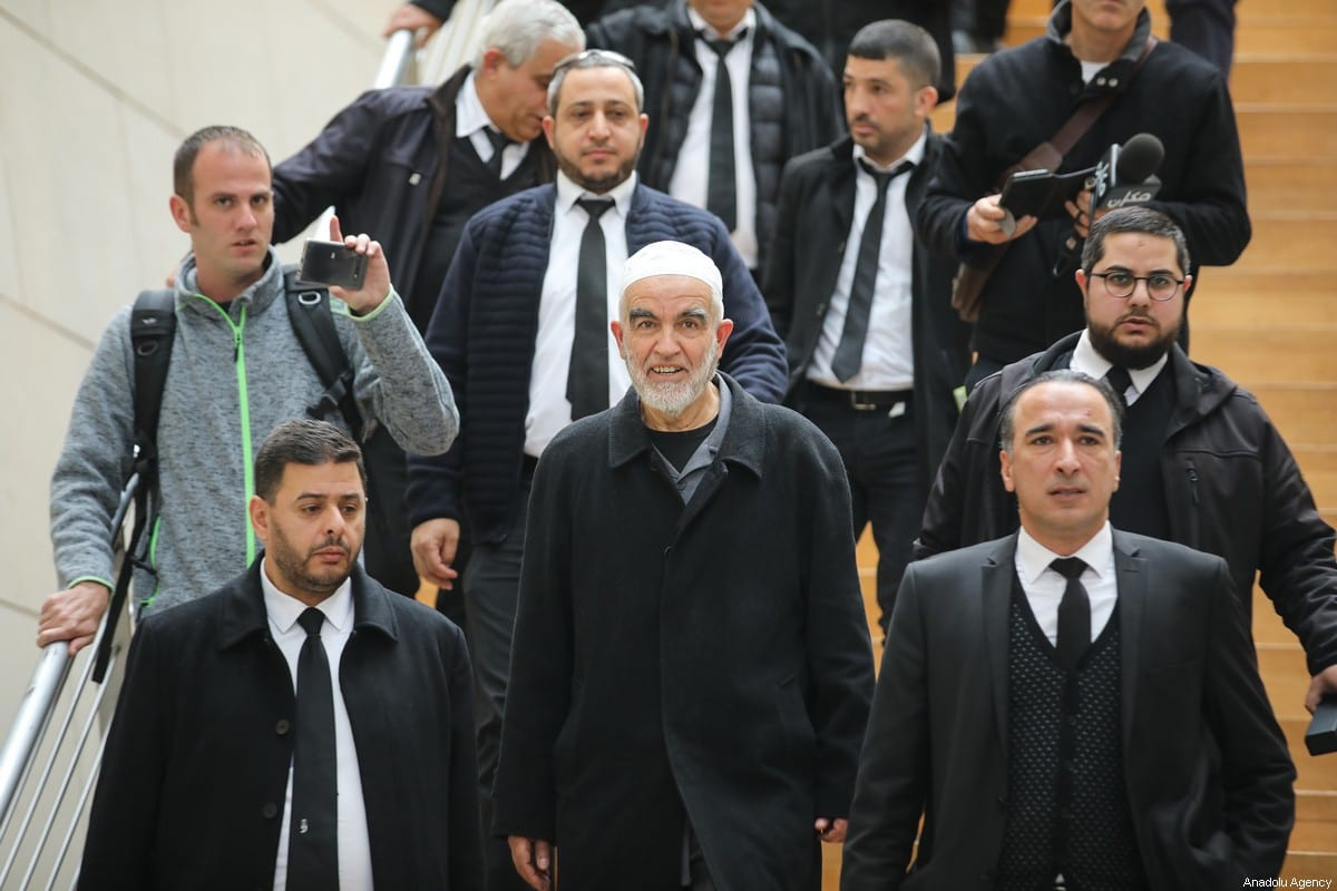 Palestinian resistance icon Sheikh Raed Salah gathers with supporters after an Israeli court sentenced him to 28 months in prison in the northern city of Haifa, on February 10, 2020. [Mostafa Alkharouf - Anadolu Agency]