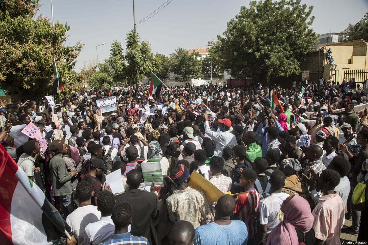 Hundreds of Sudanese demonstrators gather to demand completion of transitional government in Khartoum, Sudan on February 11, 2020 [Mahmoud Hjaj / Anadolu Agency]