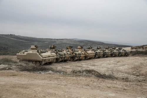 Turkish military reinforcements are seen before leaving for observation posts in Syria's Idlib, on February 12, 2020 in Hatay, Turkey [Cem Genco / Anadolu Agency]