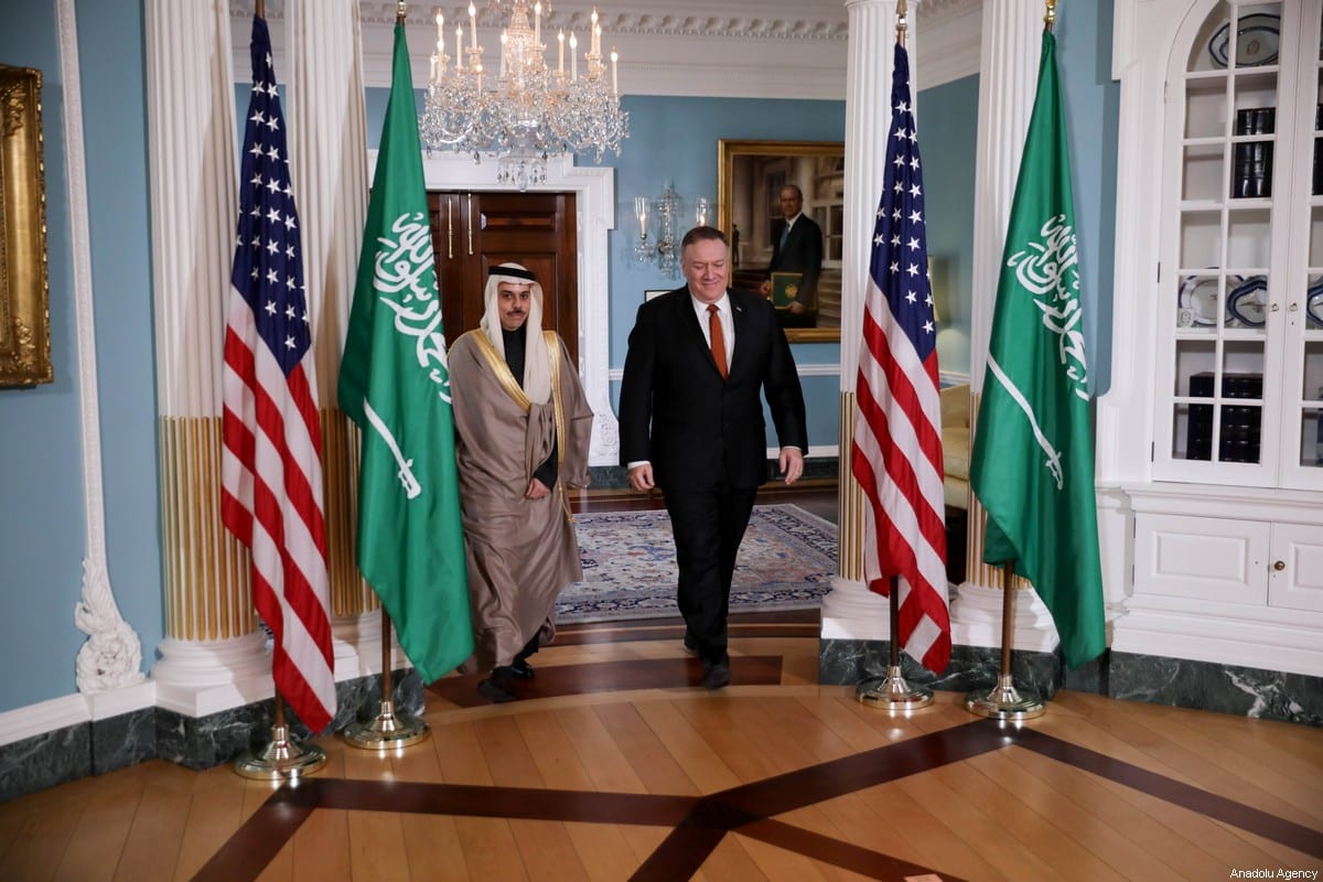 Saudi Arabia Foreign Minister Faisal bin Farhan Al Saud (L) and US Secretary of State Mike Pompeo (R) arrive for their meeting at the State Department February 12, 2020 in Washington, DC [Yasin Öztürk / Anadolu Agency]