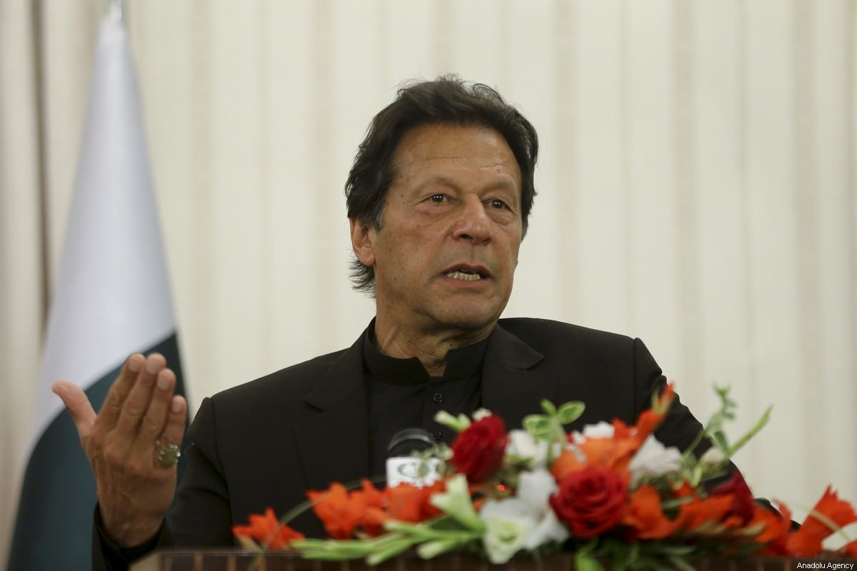 Pakistani Prime Minister Imran Khan speaks a press conference in Islamabad, Pakistan on 14 February, 2020 [Erçin Top/Anadolu Agency]