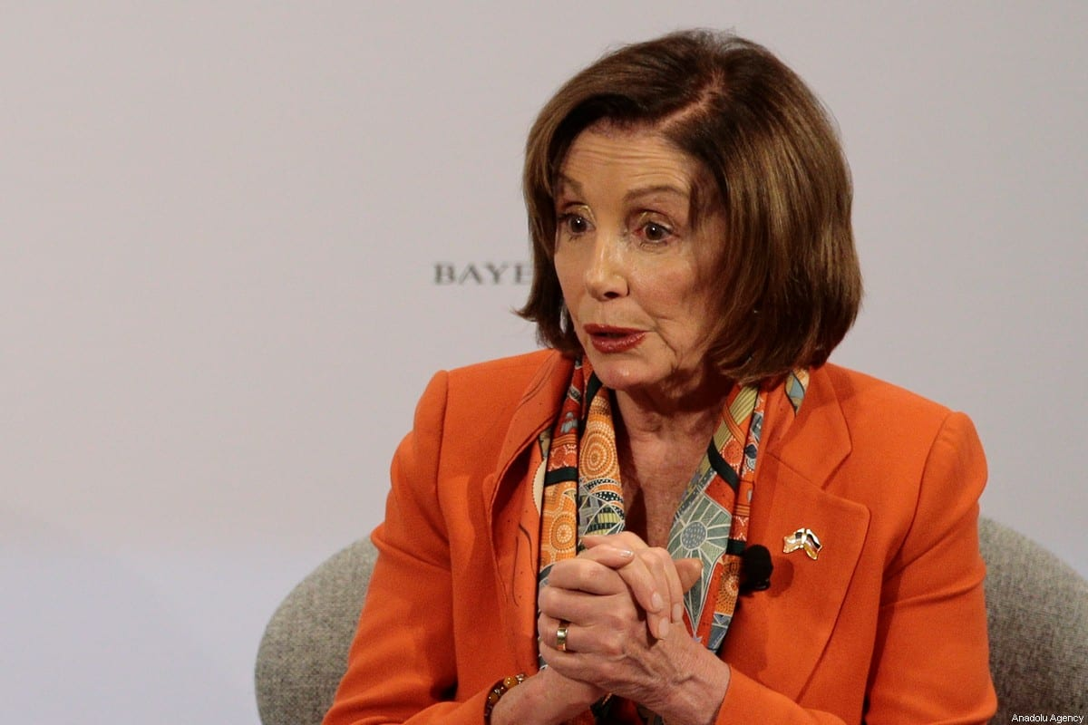 MUNICH, GERMANY - FEBRUARY 14: U.S. Speaker of the House, Nancy Pelosi speaks during the 56th Munich Security Conference at Bayerischer Hof Hotel in Munich, Germany on February 14, 2020. ( Abdulhamid Hoşbaş - Anadolu Agency )