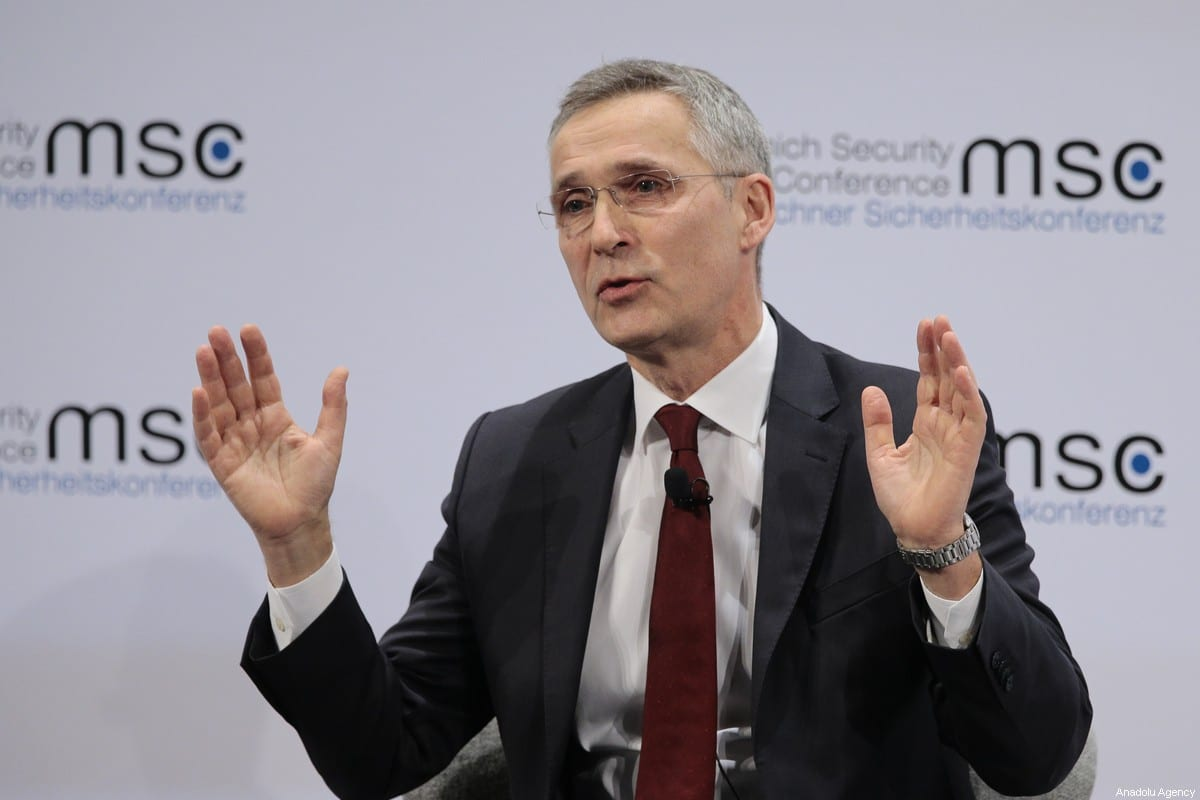 NATO Secretary-General Jens Stoltenberg makes a speech as he attends the 56th Munich Security Conference at Bayerischer Hof Hotel in Munich, Germany on February 15, 2020 [Abdulhamid Hoşbaş / Anadolu Agency]