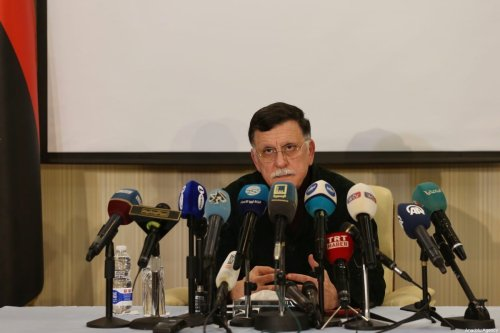 Fayez al-Sarraj, Chairman of the Presidential Council of Libya's Government of National Accord (GNA) holds a press conference in Tripoli, Libya on February 15, 2020 [Hazem Turkia - Anadolu Agency]