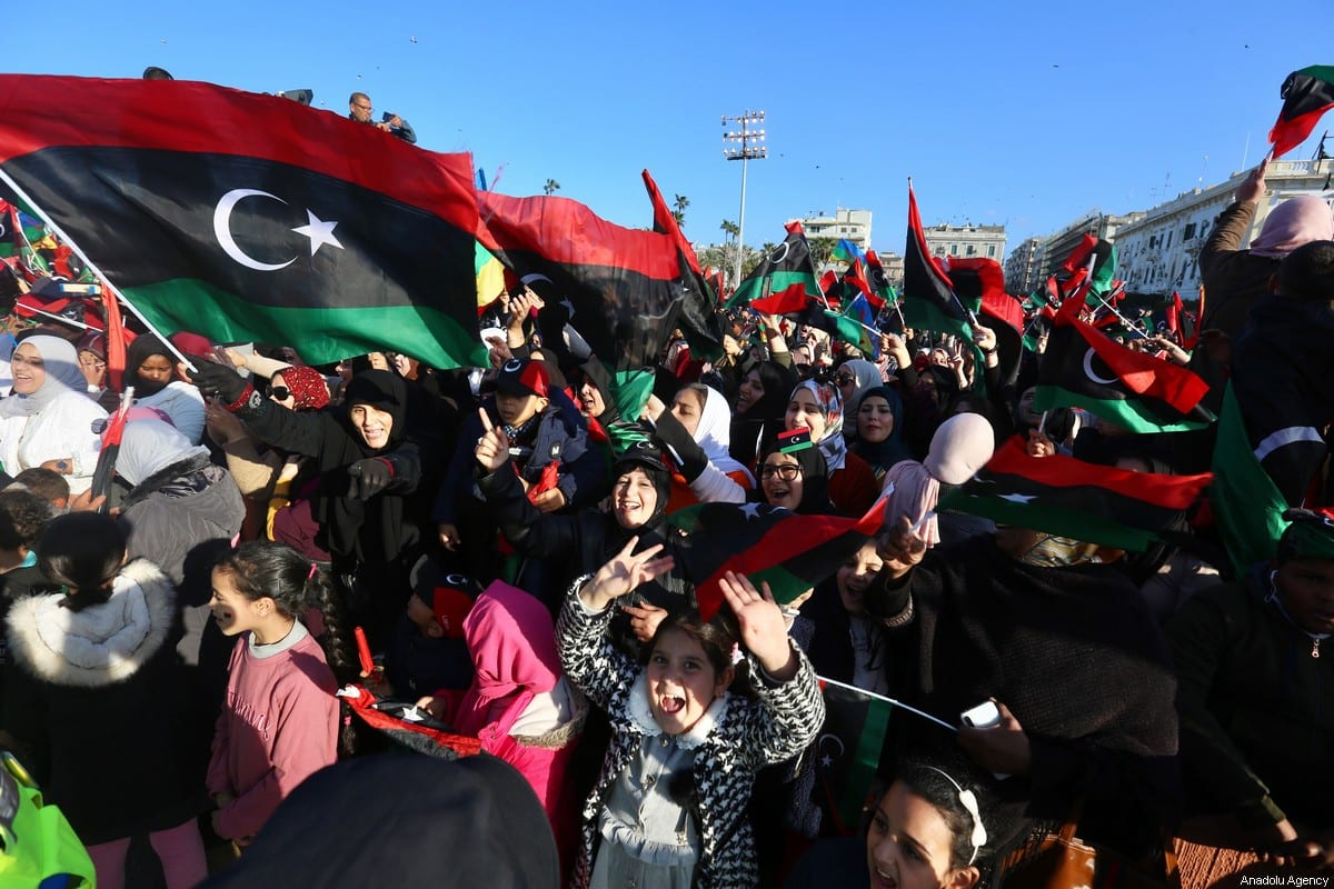 People gather at The Martyrs' Square to celebrate the 9th anniversary of Libyans' 17 February Revolution in Tripoli, Libya on 17 February 2020. [Hazem Turkia - Anadolu Agency]
