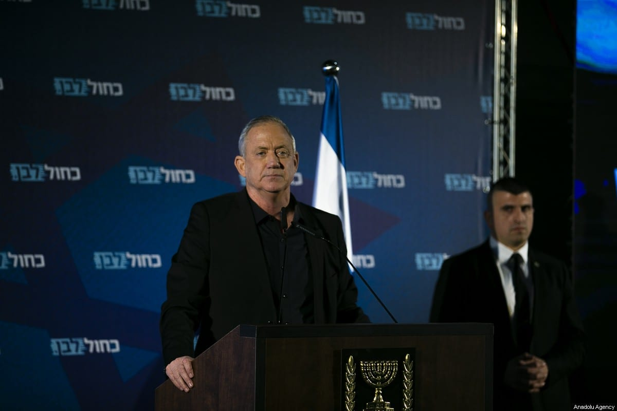 Blue and White alliance leader and former Israeli chief of staff, Benny Gantz on 18 February 2020 [Mostafa Alkharouf/Anadolu Agency]