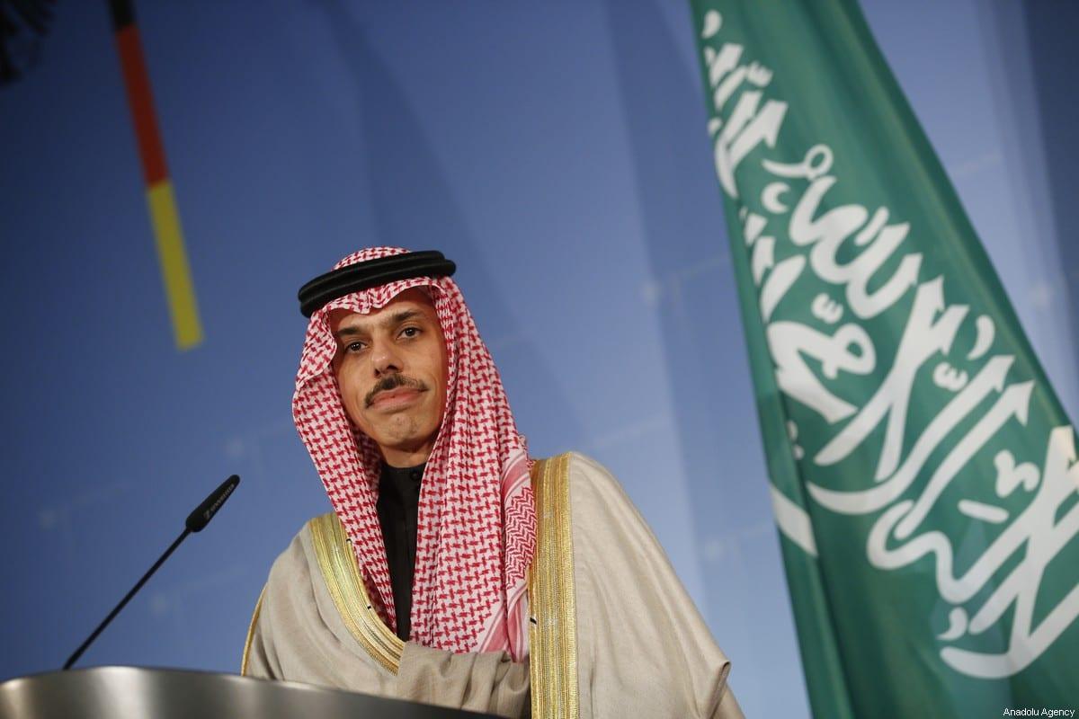 Saudi Arabian Foreign Minister Prince Faisal bin Farhan Al Saud in Berlin, Germany on 21 February 2020 [Abdulhamid Hoşbaş/Anadolu Agency]