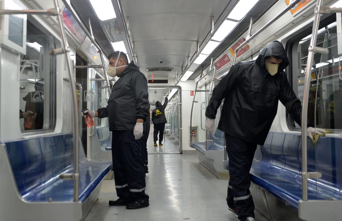 Officials carry out disinfection works at subway trains to prevent spreading the new type of coronavirus in the capital city Tehran, Iran on 26 February 2020. ( Fatemeh Bahrami - Anadolu Agency )