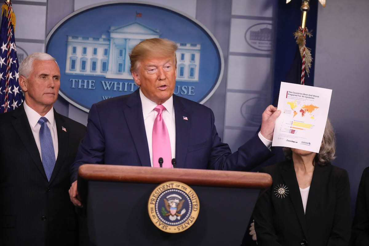 US President Donald Trump holds a press conference announcing US Vice President Mike Pence to lead the effort combating the spread of the coronavirus in Washington DC, United States on 26 February 2020. [Yasin Öztürk - Anadolu Agency]
