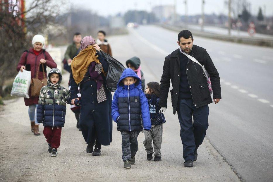 Irregular migrants arrived to Edirne to proceed Europe in Turkey on 28 February 2020. [Gökhan Balcı - Anadolu Agency]