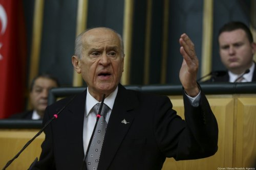 Turkey's Nationalist Movement Party's (MHP) Leader, Devlet Bahceli speaks during his party's group meeting at the Grand National Assembly of Turkey, in Ankara, Turkey on 18 February 2020. [Güven Yılmaz - Anadolu Agency]