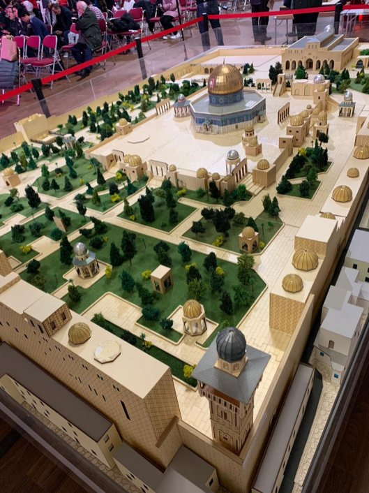 A model of the Al Aqsa Mosque compound at Pal Fest 2020 in London, on 15 February 2020 [Palestine Forum for Britain]