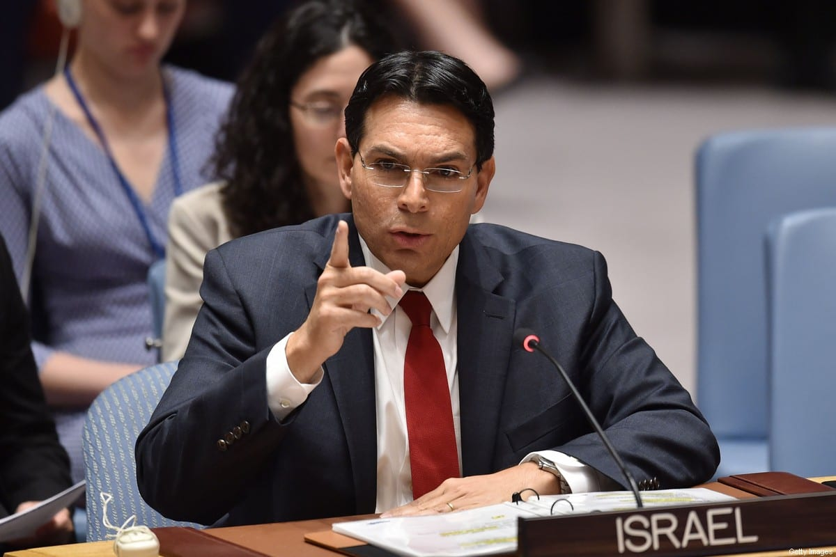 Permanent Representative of Israel to the United Nations, Danny Danon speaks during a UN Security Council meeting on May 15, 2018, at UN Headquarters in New York. [HECTOR RETAMAL/AFP via Getty Images]
