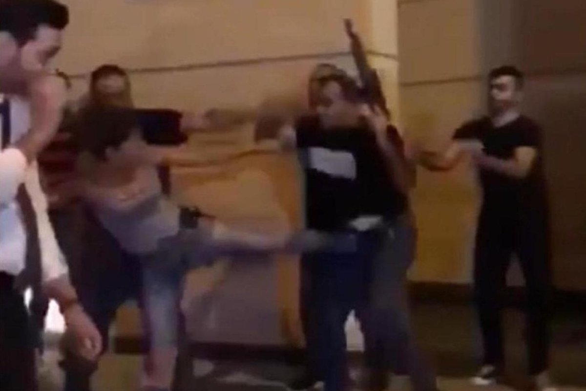 Malak Alawiye kicking a ministerial bodyguard in Lebanon [Twitter]