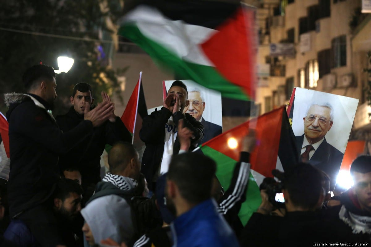 Palestinians stage a protest against so-called peace deal announced by US President Donald Trump, in Ramallah, West Bank on 28 January 2020 [Issam Rimawi/Anadolu Agency]