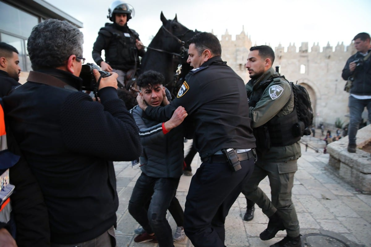 Tension raises between Israeli police and Palestinians outside of Al-Aqsa Mosque Compound in Eastern Jerusalem on January 29, 2020 [Mostafa Alkharouf - Anadolu Agency]