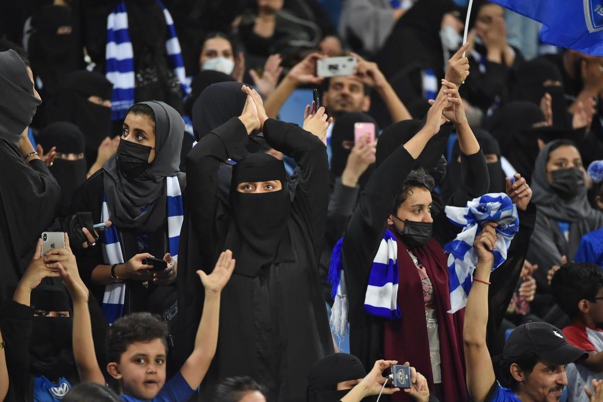 Women are seen at a football stadium in Riyadh, Saudi Arabia on 17 September 2019 [FAYEZ NURELDINE/AFP/Getty Images]