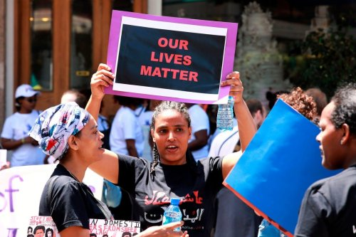 Migrant domestic workers protest for the abolishment of the kafala system in the Lebanese capital Beirut on 5 May 2019 [ANWAR AMRO/AFP/Getty Images]