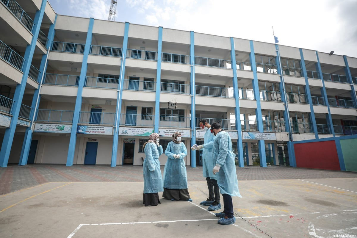 UNRWA healthcare workers at the yard of a school which is turned into a clinic for Covid-19 patients in Gaza City, Gaza on March 18, 2020 [Ali Jadallah/Anadolu Agency]