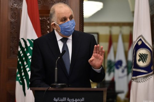 Lebanese Minister of Interior and Municipalities, Mohamed Fehmi, holds a press conference on coronavirus (Covid-19) in Beirut, Lebanon on March 22, 2020 [Hussam Chbaro / Anadolu Agency]