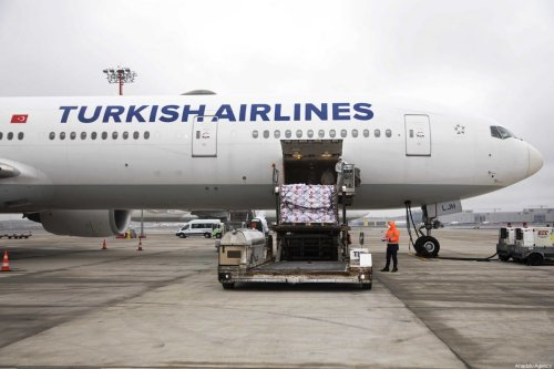 Turkish Airlines carry cargo of medical supplies to tackle the coronavirus outbreak in Ankara, Turkey on 25 March 2020 [Turkish Airlines/Anadolu Agency]