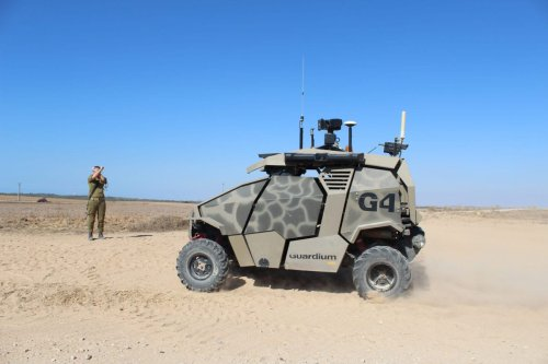 The Guardium unmanned ground vehicle (UGV), developed by Israel Aerospace Industries (IAI) and Elbit Industries, as a drone to patrol Israel's fence with Gaza [Israel Defence Forces / Flickr]