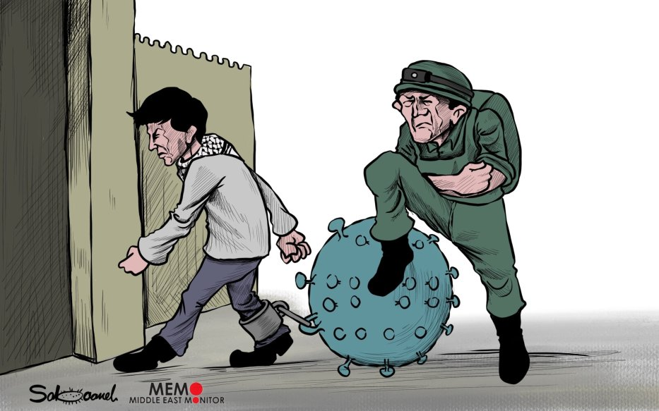 Israel closes most gates of the Al-Aqsa Mosque over claims of fighting the spread of coronavirus - Cartoon [Sabaaneh/MiddleEastMonitor]