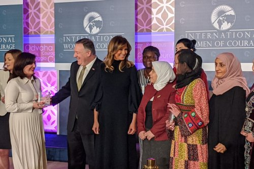 Amina Khoulani, a survivor of Syrian government detention received the US State Department's Women of Courage Award, on. 4 March 2020 [Twitter]