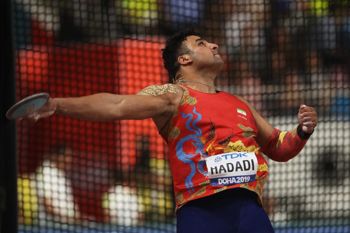 Ehsan Hadadi of Iran competes in the Men's Discus final during day four of 17th IAAF World Athletics Championships Doha 2019 at Khalifa International Stadium on September 30, 2019 in Doha, Qatar [Patrick Smith / Getty Images]