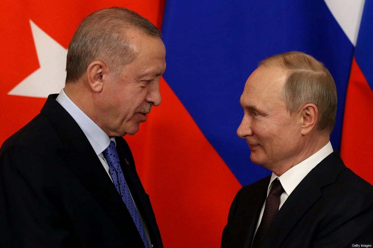 Russian President Vladimir Putin and Turkish President Recep Tayyip Erdogan greet each other during their talks at the Kremlin on March 5, 2020 in Moscow, Russia [Mikhail Svetlov/Getty Images]