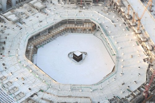 An aerial view shows an empty white-tiled area surrounding the Kaaba, due to the coronavirus pandemic in Makkah's Grand Mosque on 6 March 2020P [BANDAR ALDANDANI/AFP/Getty Images]