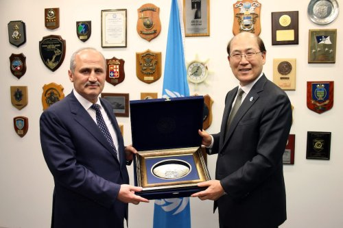 IMO Secretary-General Kitack Lim receives H.E. Mr. Mehmet Cahit Turhan, Former Minister of Transport and Infrastructure, at IMO HQ, London on 26 November 2019 [Wikipedia]