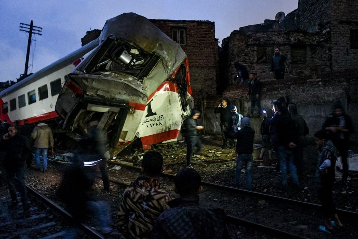Scene of a railroad collision in the Egyptian capital Cairo on 12 March 2020 [AFP/Getty Images]
