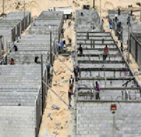 Building 1,000 quarantine rooms in the southern and northern Gaza Strip, April 2020 [Facebook]