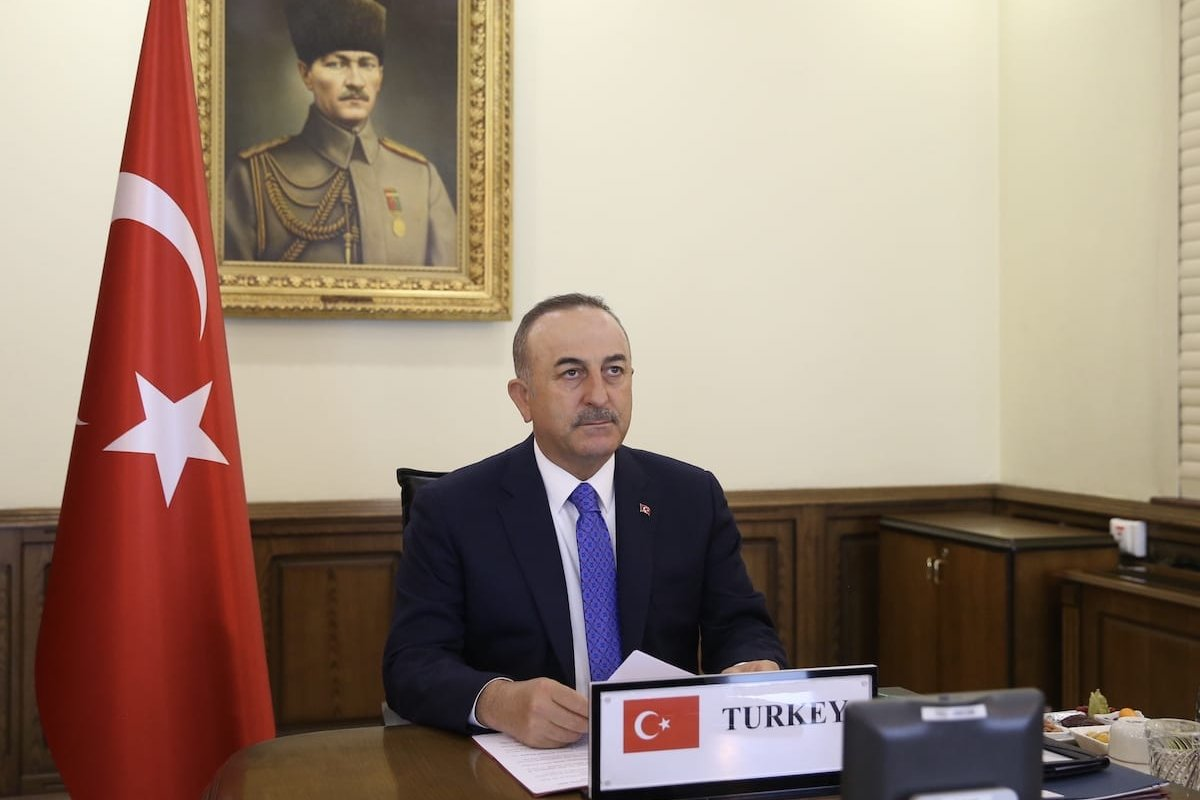 Foreign Minister of Turkey Mevlut Cavusoglu participates in NATO foreign ministers meeting via teleconference on 2 April 2020 in Ankara, Turkey. [Fatih Aktaş - Anadolu Agency]