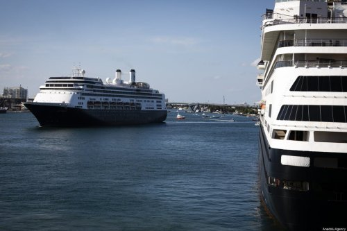 M/S Rotterdam Cruise Ship (L) arrives to port while Zaandam Cruise Ship (R) is docked at Port Everglades in Florida on 2 April 2020 [Eva Marie Uzcategui Trinkl/Anadolu Agency]