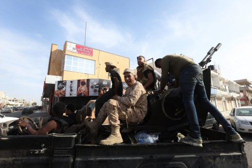 """Libya's Government of National Accord forces celebrate after taking control of Sabratha and its Surman town from warlord Khalifa Haftar's forces within """"Operation Peace Storm"""" in Sabratha, Libya on 13 April 2020. [Hazem Turkia - Anadolu Agency]"""
