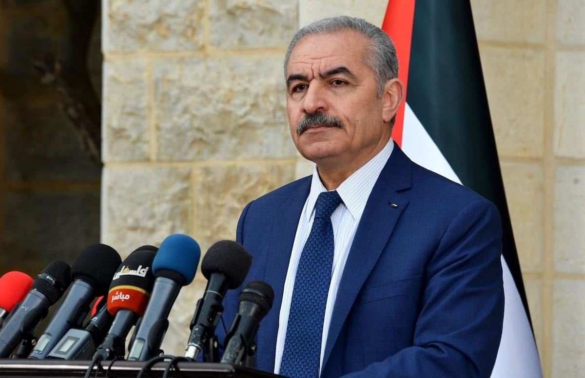 Palestinian Prime Minister Mohammad Shtayyeh in Ramallah, West Bank on 13 April 2020 [Palestinian Prime Ministry/Anadolu Agency]