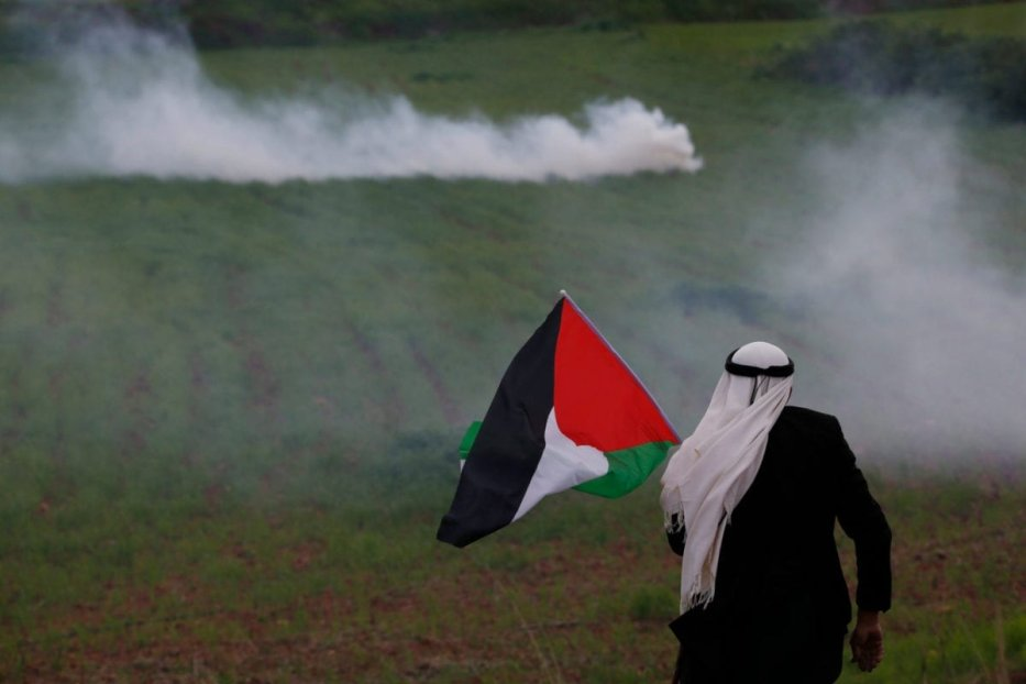 A Palestinian man holds a flag during a protest against the expropriation of Palestinian land, in the West Bank city of Tubas, on 29 February 2020. [Shadi Jarar'ah/Apaimages]