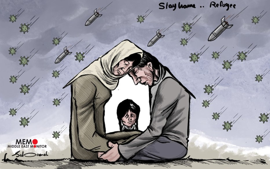 Stay home is the official advice to tackle coronavirus, but what if you don't have a home? - Cartoon [Sabaaneh/MiddleEastMonitor]